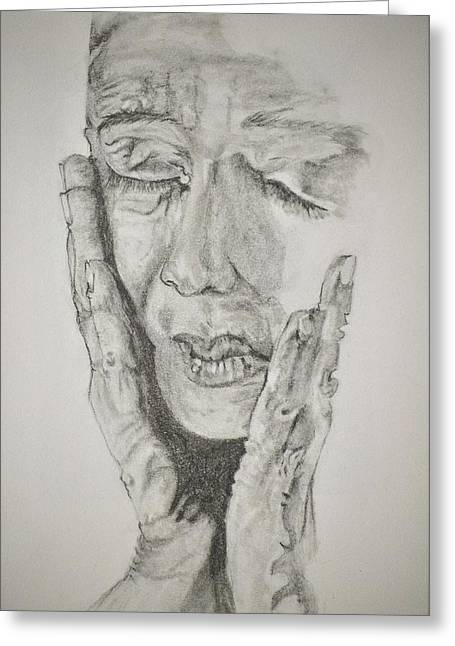 Lady With Hands Greeting Card by Glenn Calloway