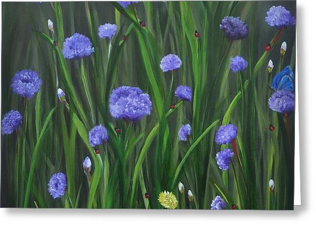 Greeting Card featuring the painting Ladybug Lunch by Carol Sweetwood