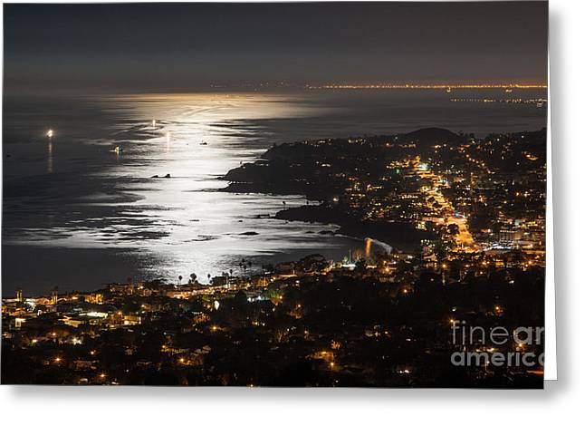Laguna Beach Moonlight Greeting Card by Sonny Marcyan