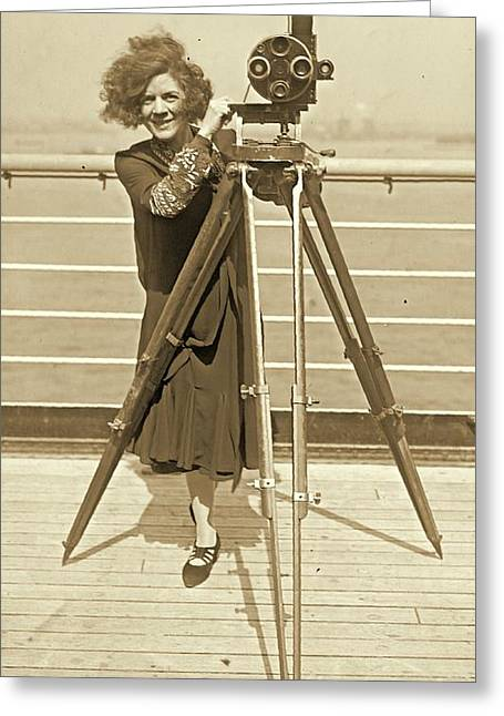 Lajinska With Vintage Movie Camera Greeting Card