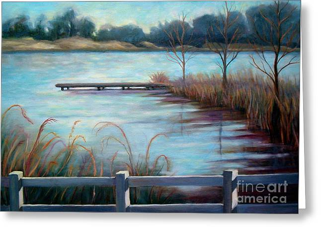 Greeting Card featuring the painting Lake Acworth Dock by Gretchen Allen
