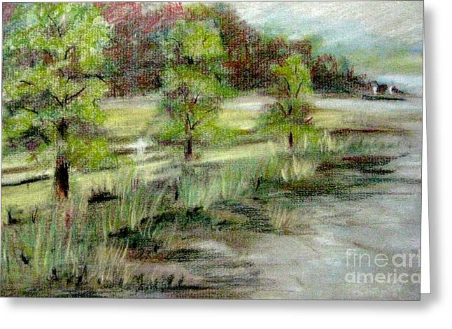 Greeting Card featuring the pastel Lake Acworth Fisherman by Gretchen Allen