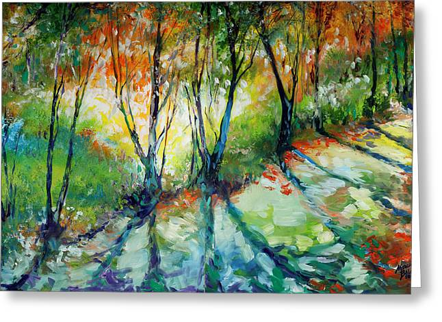Lake Forest Hills Greeting Card by Marcia Baldwin