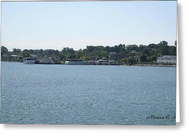 Lake Huron Shoreline And Harbor - Michigan Greeting Card