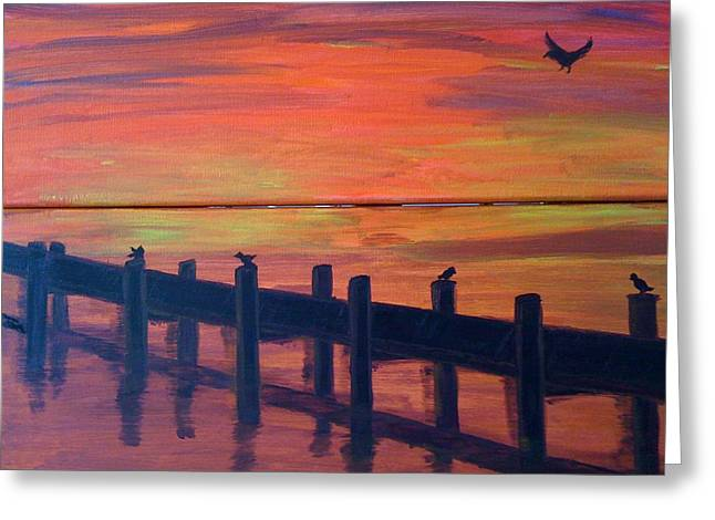 Greeting Card featuring the painting Lake Illawarra At Sunset by Judi Goodwin