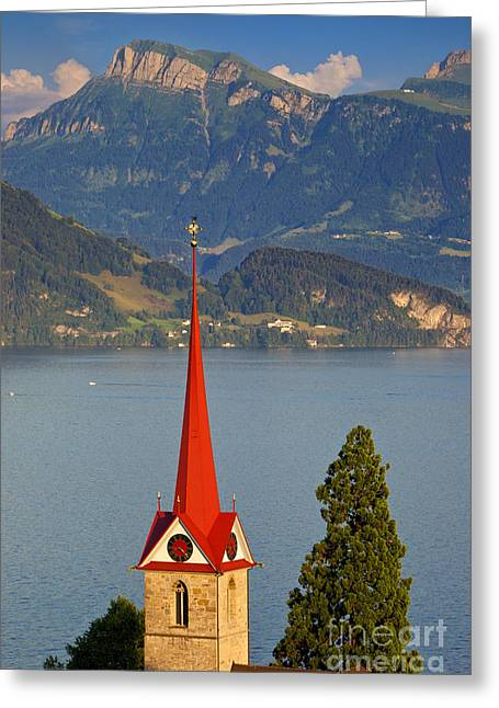 Lake Lucerne Greeting Card by Brian Jannsen