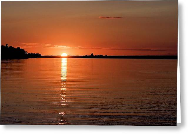 Greeting Card featuring the photograph Lake Manitoba Sunset by Scott Holmes