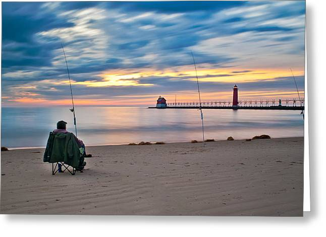 Lake Michigan Fishing Greeting Card