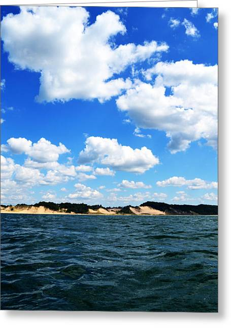 Lake Michigan Shore With Clouds Greeting Card by Michelle Calkins
