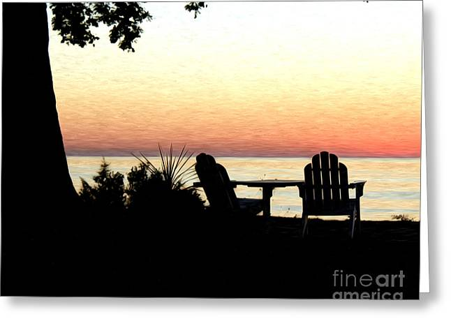 Greeting Card featuring the photograph Lake Michigan Sunset by Anne Raczkowski