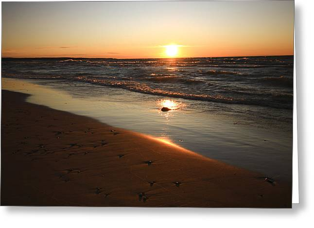 Greeting Card featuring the photograph Lake Michigan Sunset by Patrice Zinck