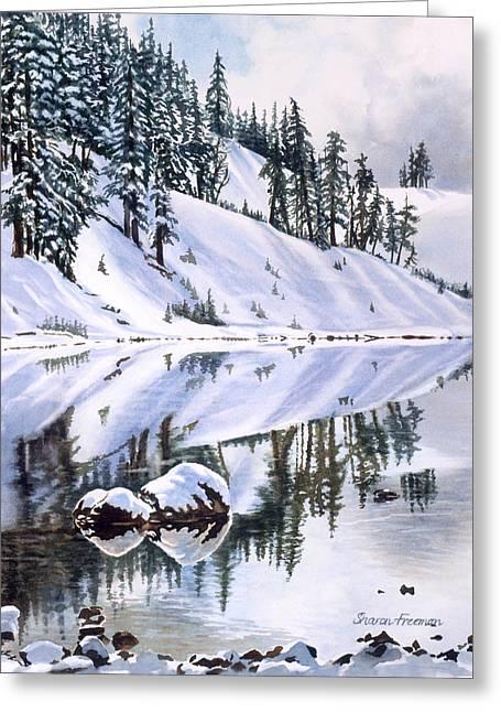 Lake Moraine Oregon Greeting Card by Sharon Freeman