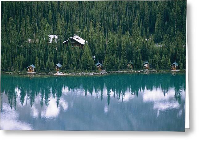 Lake Ohara Lodge And Cabins Greeting Card by Michael Melford