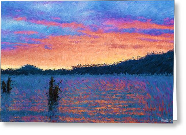 Lake Quinault Sunset - Impressionism Greeting Card by Heidi Smith