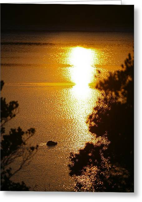 Lake Sunrise Greeting Card by Miguel Capelo