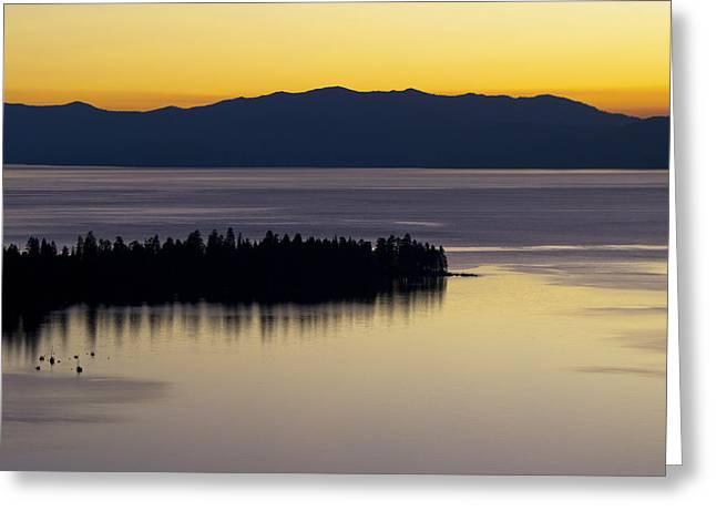 Lake Tahoe Silhouette - California Greeting Card by Brendan Reals