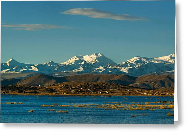 Lake Titicaca And The Cordillera Real In The Background.republic Of Bolivia. Greeting Card by Eric Bauer