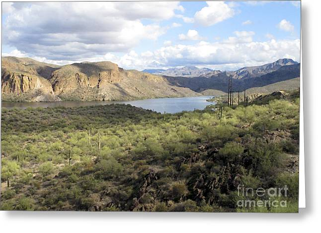 Greeting Card featuring the photograph Lake View From Arizona Hwy by Leslie Hunziker