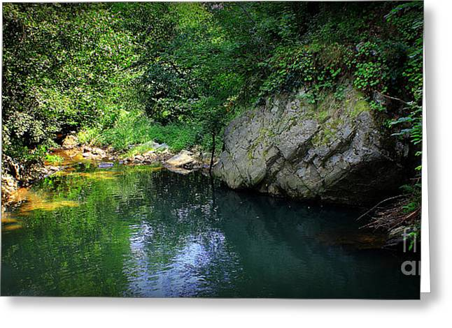 Lake With Rocks In The Mountain Greeting Card by Radoslav Nedelchev