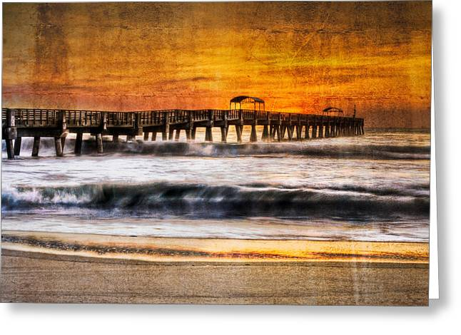 Lake Worth Pier Greeting Card by Debra and Dave Vanderlaan