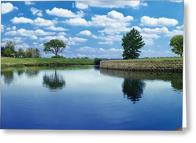 Lakeridge Duck Pond Greeting Card by Robert Hudnall