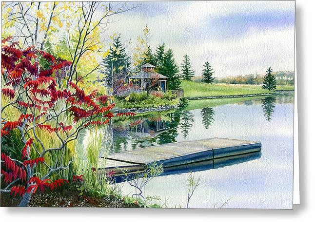Lakeside Gazebo Greeting Card by Hanne Lore Koehler