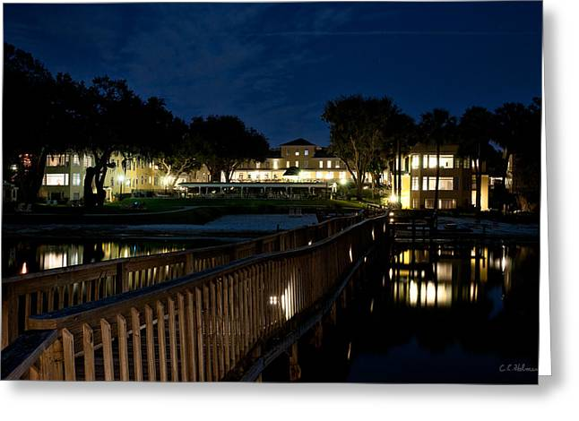 Lakeside Inn At Night Greeting Card by Christopher Holmes