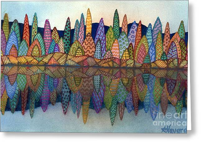 Lakeside Reflection Greeting Card by Anne Havard