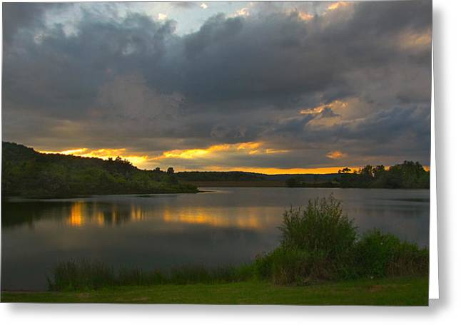 Greeting Card featuring the photograph Lakeside Sunset by Cindy Haggerty