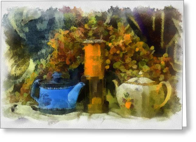 Lamp And 2 Pots Greeting Card by Dale Stillman