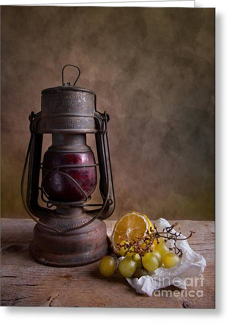 Lamp And Fruits Greeting Card