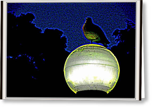 Lamp And The Bird Greeting Card by Anand Swaroop Manchiraju