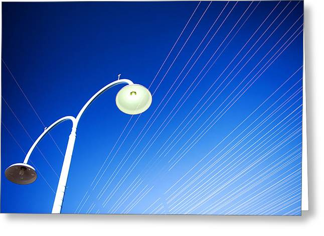 Lamp Post And Cables Greeting Card