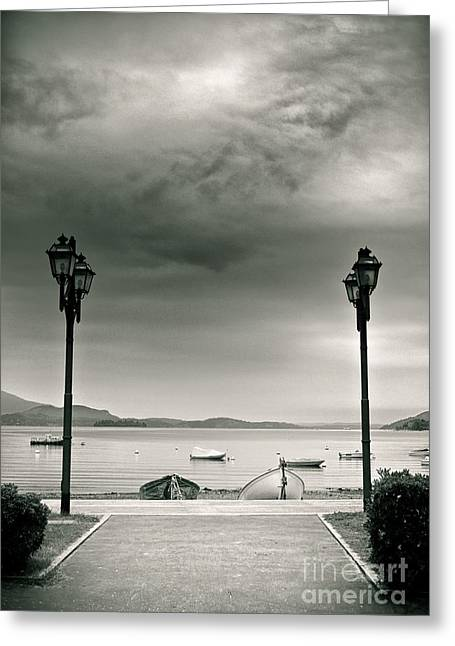 Lamps On Lake Greeting Card by Silvia Ganora