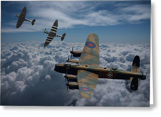 Lancaster Bomber And Spitfires Greeting Card by Ken Brannen