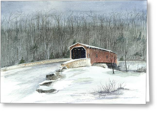 Greeting Card featuring the painting Lancaster County Covered Bridge In The Snow  by Nancy Patterson