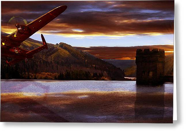 Lancaster Over Howden Dam Greeting Card