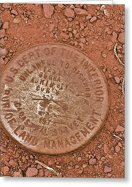 Land Survey Marker Greeting Card by Bill Owen