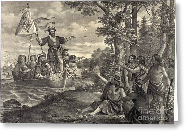 Landing Of Christopher Columbus Greeting Card by Photo Researchers