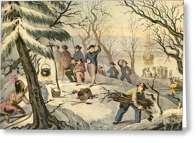 Landing Of The Pilgrims At Plymouth Greeting Card by Photo Researchers