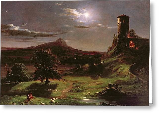 Landscape - Moonlight Greeting Card by Thomas Cole