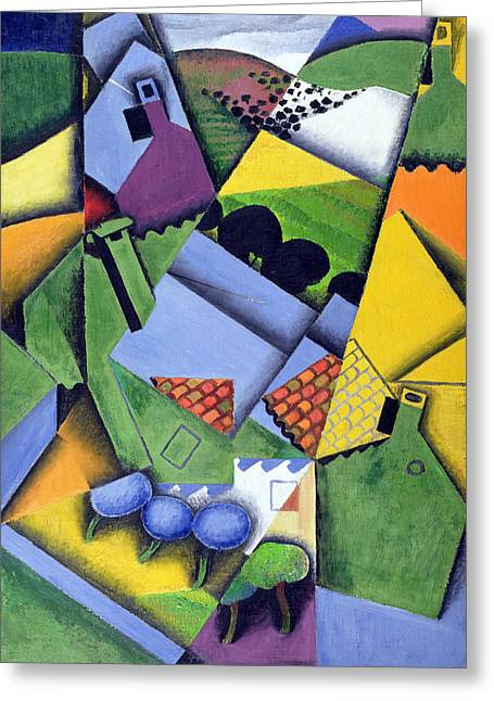 Landscape And Houses At Ceret Greeting Card by Juan Gris