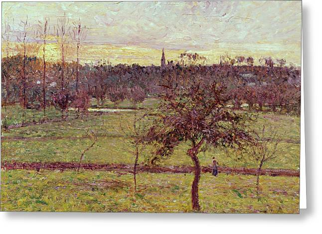 Landscape At Eragny Greeting Card by Camille Pissarro