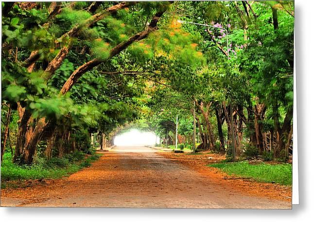 Landscape Painting Showing Road  Greeting Card by Parinya Kraivuttinun