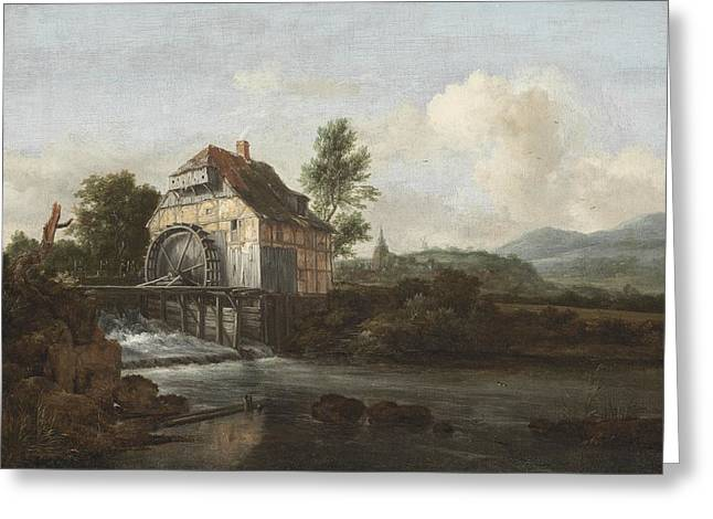 Landscape With A Watermill Greeting Card by Jacob Isaaksz Ruisdael