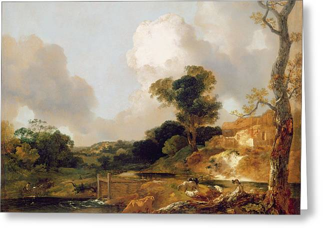 Landscape With Stream And Weir Greeting Card by Thomas Gainsborough