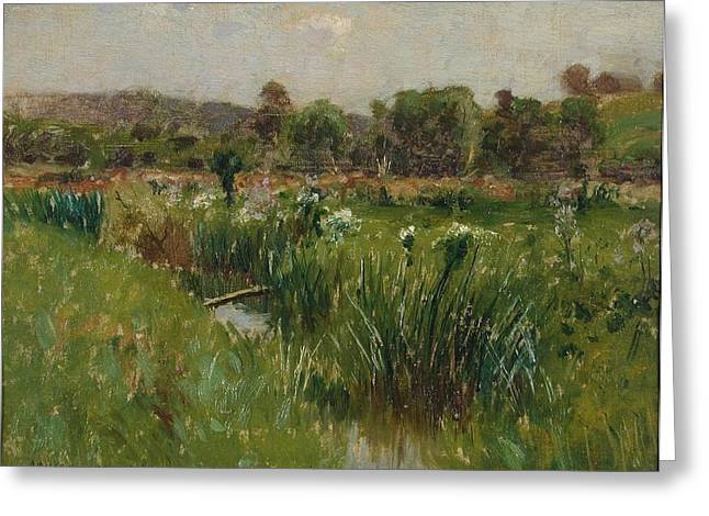 Landscape With Wild Irises Greeting Card by Bruce Crane