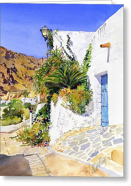 Lane In Nijar Greeting Card by Margaret Merry