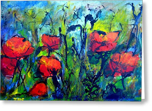 Languedoc Poppies Greeting Card by Jackie Sherwood