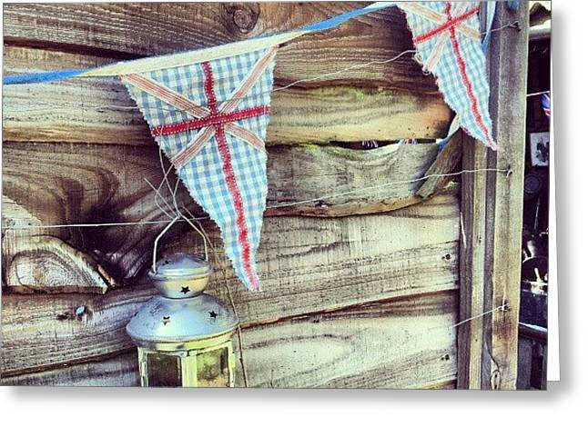 Lantern With Bunting Greeting Card by Natasha Futcher